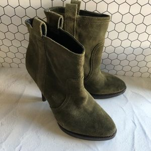 BCBGeneration Sandra Green Suede Ankle Booties 7.5